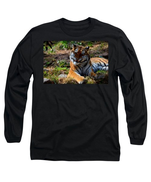 Long Sleeve T-Shirt featuring the mixed media Amur Tiger 4 by Angelina Vick
