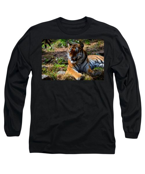 Long Sleeve T-Shirt featuring the mixed media Amur Tiger 5 by Angelina Vick