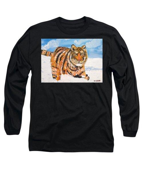 Amur Tiger Long Sleeve T-Shirt by Valerie Ornstein