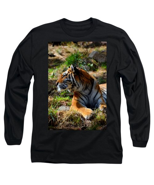 Long Sleeve T-Shirt featuring the mixed media Amur Tiger 9 by Angelina Vick