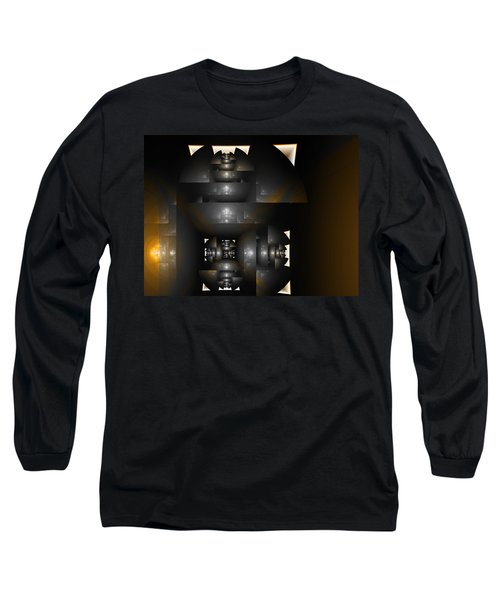 Long Sleeve T-Shirt featuring the digital art An Interior Space Abstract by Richard Ortolano