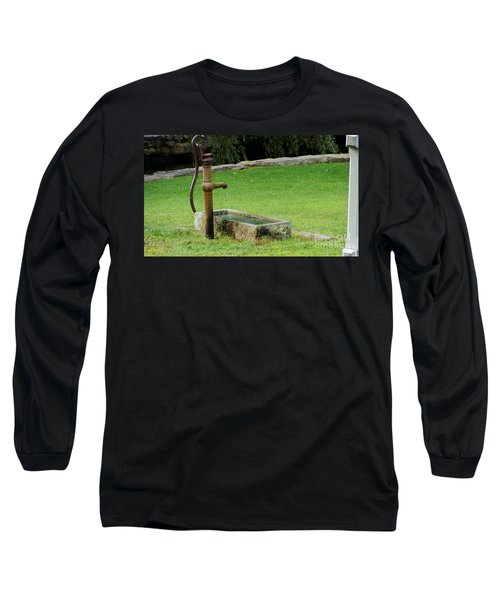 Long Sleeve T-Shirt featuring the painting An Old Hand Pump In Plymouth,mass by Rod Jellison