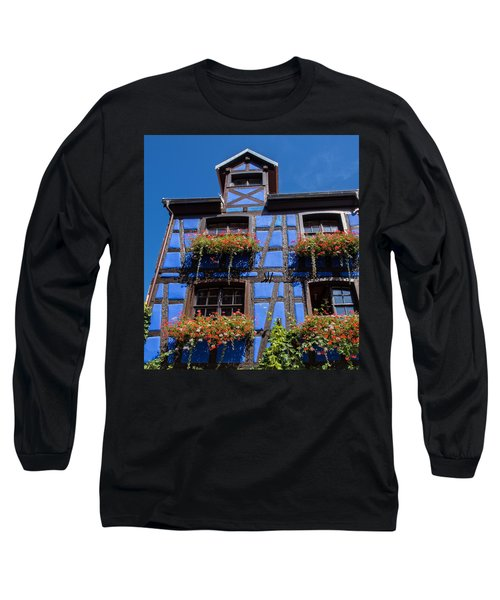 Ancient Alsace Auberge In Blue Long Sleeve T-Shirt