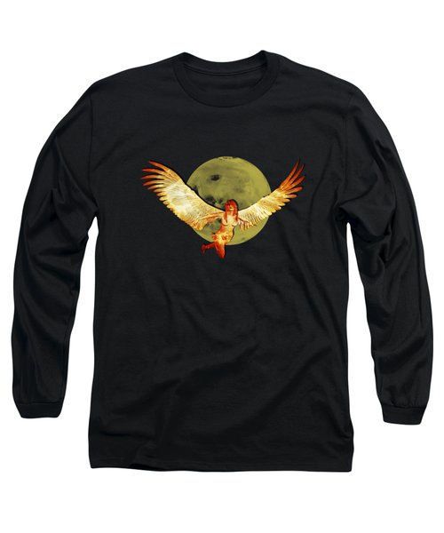 Angel And The Moon Long Sleeve T-Shirt by Ericamaxine Price