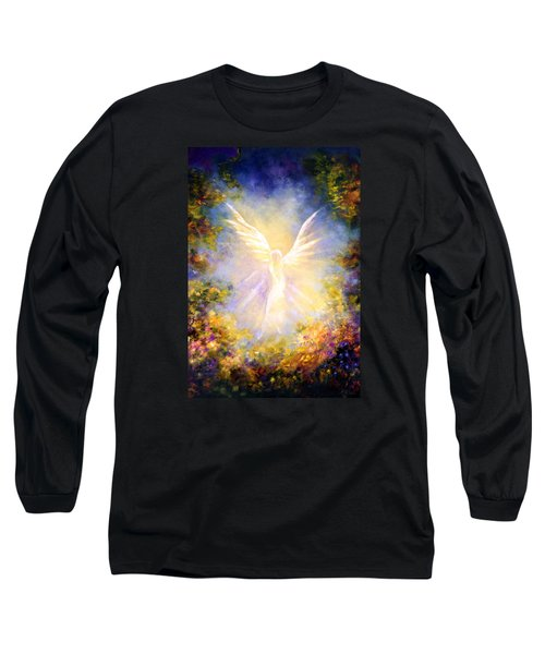 Long Sleeve T-Shirt featuring the painting Angel Descending by Marina Petro