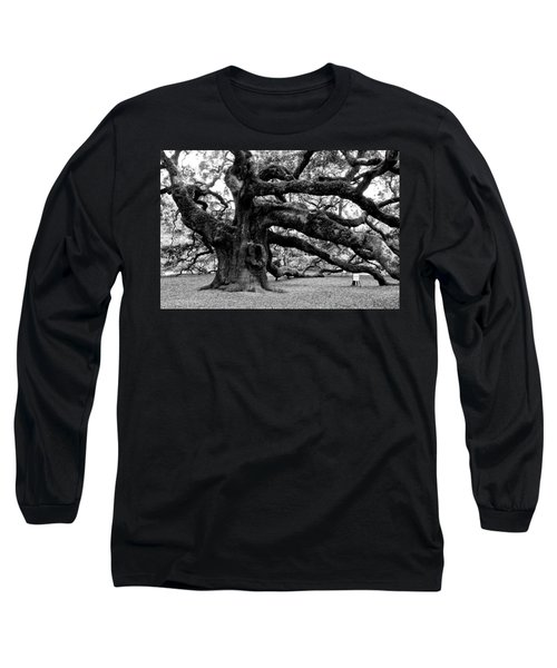 Angel Oak Tree 2009 Black And White Long Sleeve T-Shirt