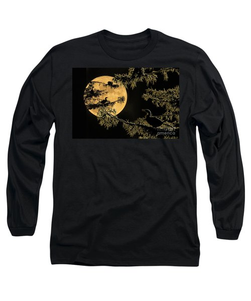 Anhingas In Full Moon Long Sleeve T-Shirt by Bonnie Barry