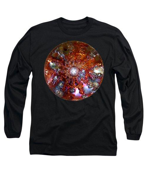 Long Sleeve T-Shirt featuring the sculpture Antares Copper Lightmandala by Robert Thalmeier