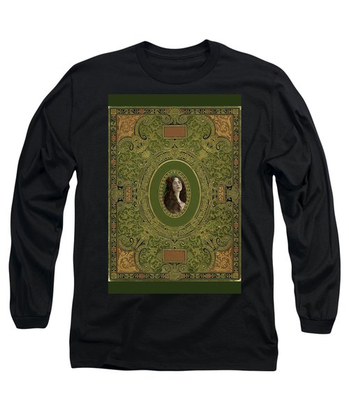 Antique Book Cover With Cameo - Green And Gold Long Sleeve T-Shirt by Peggy Collins
