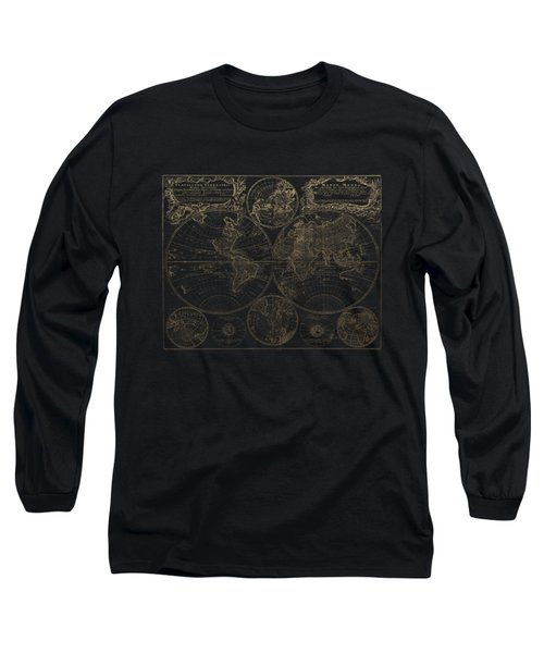 Antique Map Of The World - Gold On Black Canvas Long Sleeve T-Shirt