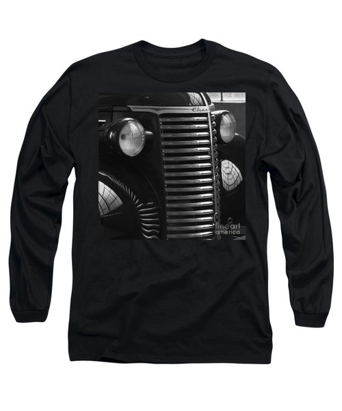 Antique Truck Black And White Long Sleeve T-Shirt by Wilma  Birdwell