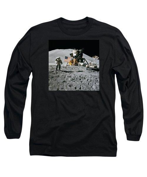 Apollo 15 Lunar Module Pilot James Irwin Salutes The U.s. Flag Long Sleeve T-Shirt