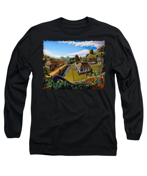 Appalachia Summer Farming Landscape - Appalachian Country Farm Life Scene - Rural Americana Long Sleeve T-Shirt