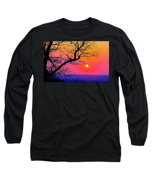 Appalcahian Sunset Tree Silhouette  #1 Long Sleeve T-Shirt