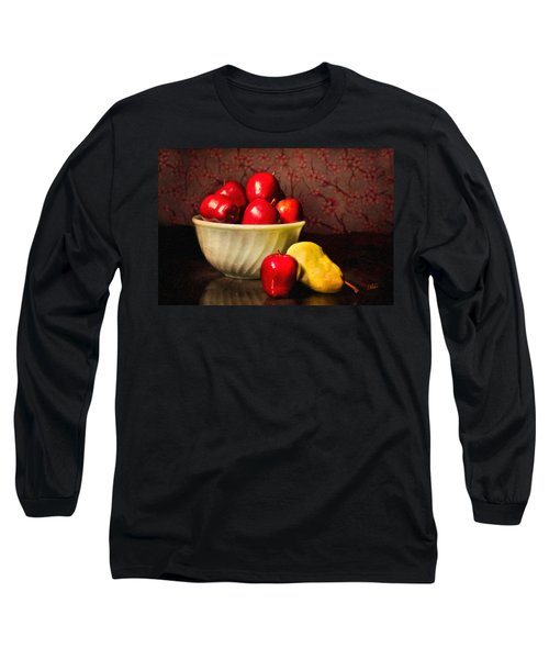 Apples In Bowl With Pear Long Sleeve T-Shirt