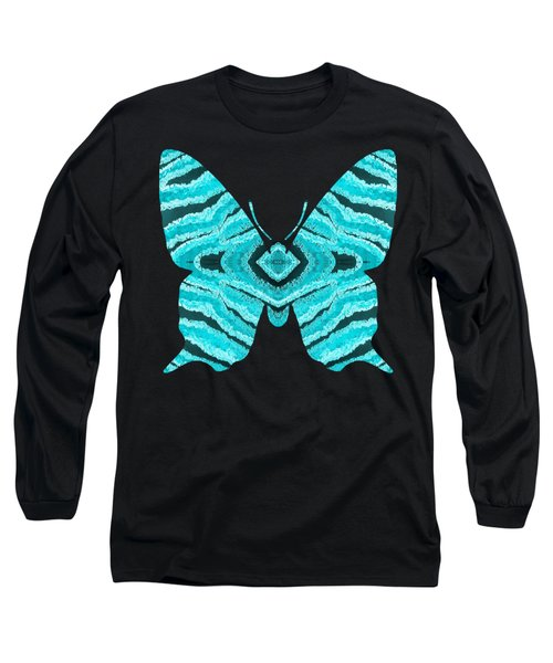 Aqua Blue Butterfly  Long Sleeve T-Shirt
