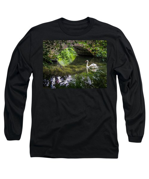 Arched Bridge And Swan At Doneraile Park Long Sleeve T-Shirt