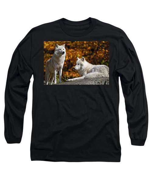Long Sleeve T-Shirt featuring the photograph Arctic Wolves On Rocks by Michael Cummings