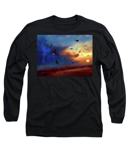Long Sleeve T-Shirt featuring the painting Area 51 Groom Lake by Dave Luebbert
