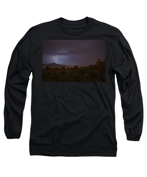 Long Sleeve T-Shirt featuring the photograph Arizona Monsoon Lightning by Dan McManus