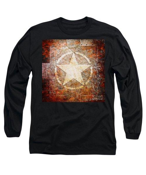 Army Star On Rust Long Sleeve T-Shirt