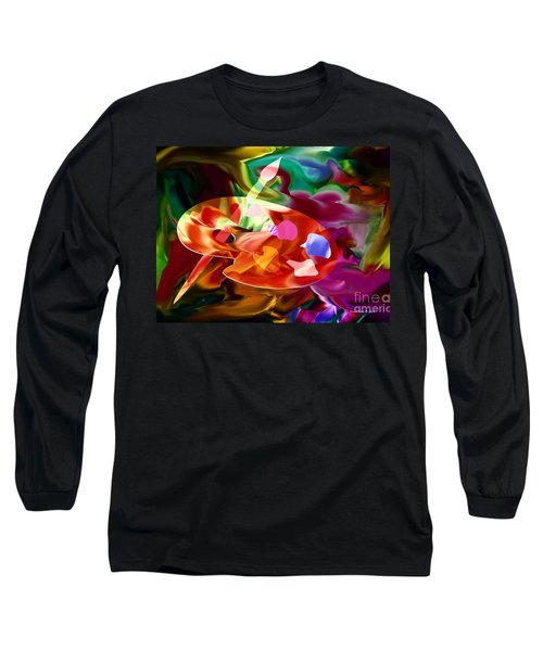 Artist Palette In Neon Colors Long Sleeve T-Shirt by Annie Zeno