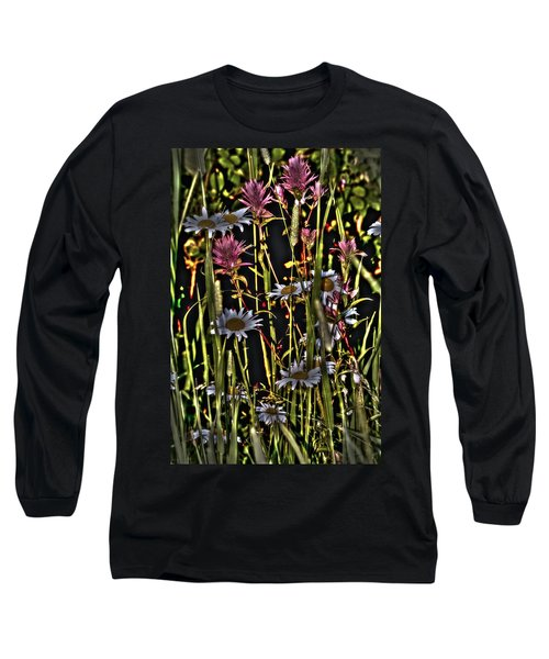 Artistic Wildflowers Long Sleeve T-Shirt by Loni Collins