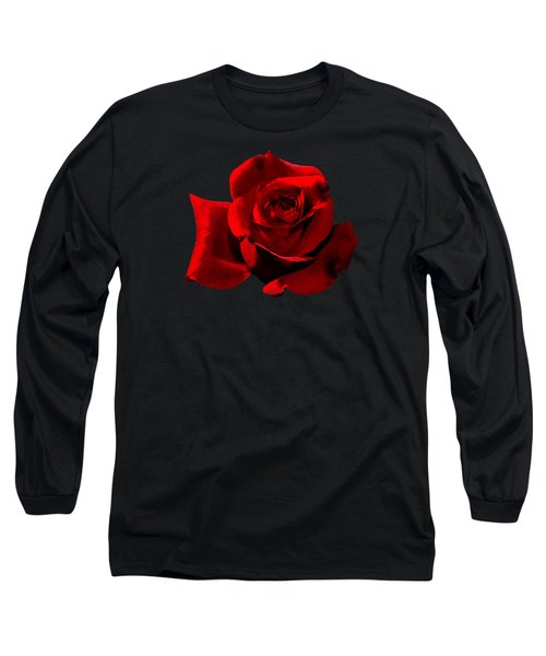 Simply Red Rose Long Sleeve T-Shirt by Phyllis Denton