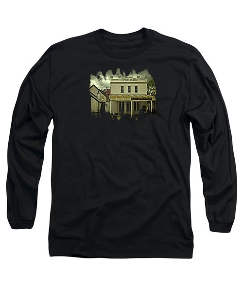 Long Sleeve T-Shirt featuring the photograph The Eagle Theater And Skalet Family Jewelers Old Sacramento by Thom Zehrfeld