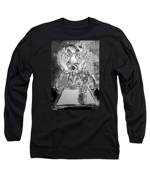 Old Geezer Grappling With A White Sheet Of Paper Long Sleeve T-Shirt by Alfred Motzer