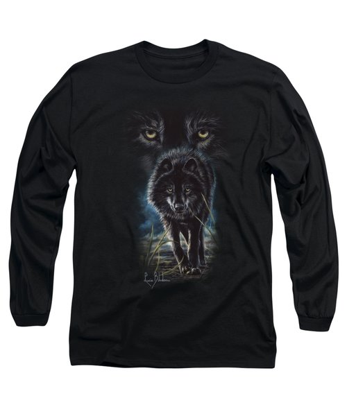 Black Wolf Hunting Long Sleeve T-Shirt by Lucie Bilodeau