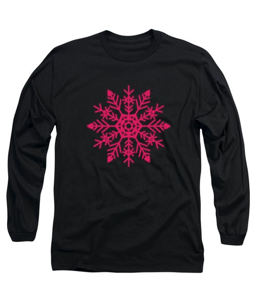 Snowflakes Rubine Red And White Long Sleeve T-Shirt