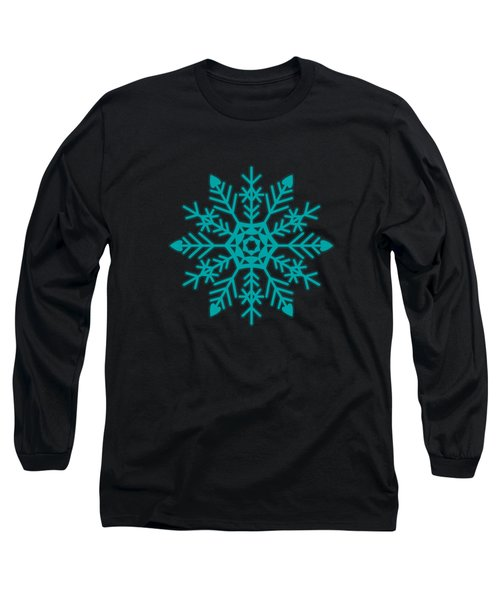 Snowflakes Green And White Long Sleeve T-Shirt