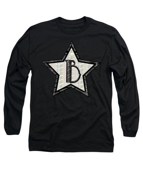 Star Of The Show Art Deco Style Letter B Long Sleeve T-Shirt by Cecely Bloom