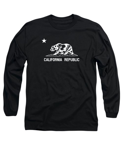 The Bear Flag - Black And White Long Sleeve T-Shirt