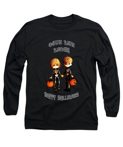 Long Sleeve T-Shirt featuring the digital art Skeleton Twinz Halloween by Methune Hively