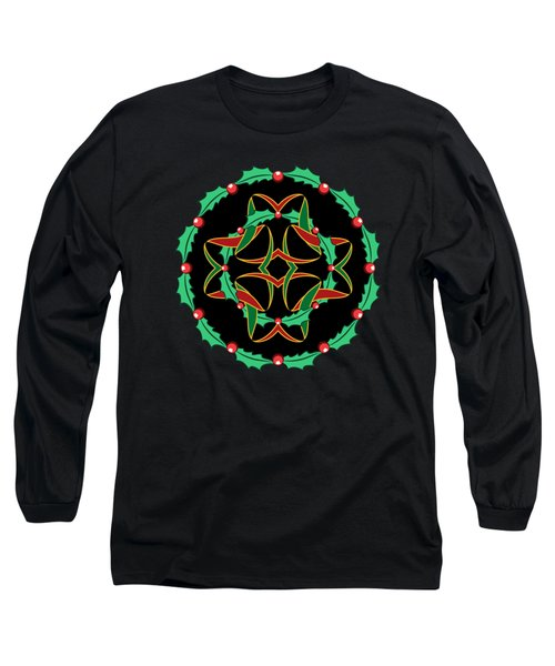 Celtic Christmas Holly Wreath Long Sleeve T-Shirt by MM Anderson