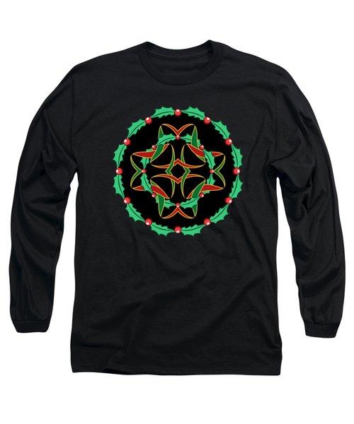 Celtic Christmas Holly Wreath Long Sleeve T-Shirt