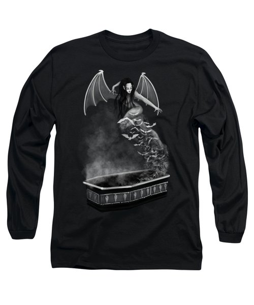 Long Sleeve T-Shirt featuring the painting Always Awake - Black And White Fantasy Art by Raphael Lopez