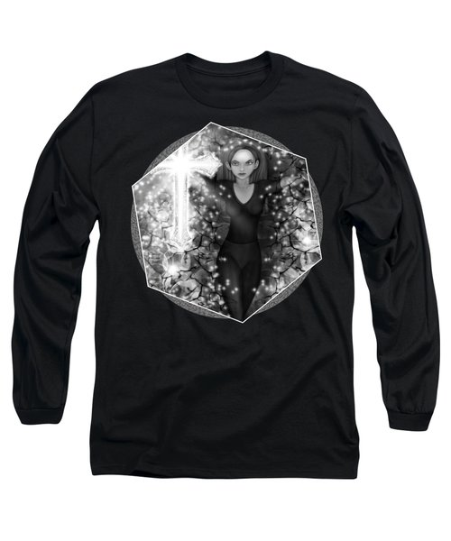 Breaking Through Darkness - Black And White Fantasy Art Long Sleeve T-Shirt