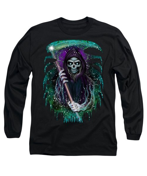 Long Sleeve T-Shirt featuring the painting Galaxy Grim Reaper Fantasy Art by Raphael Lopez