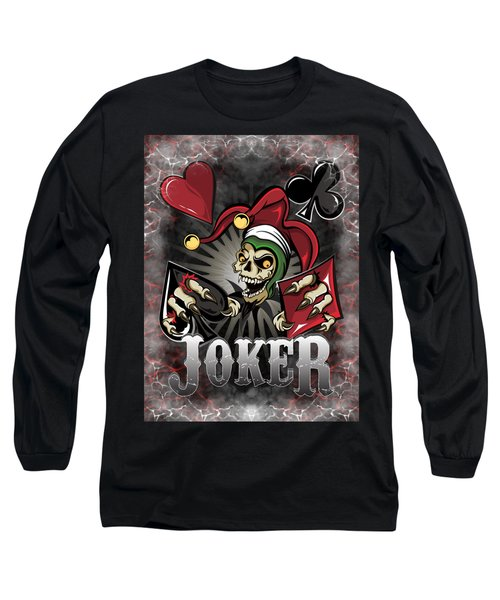 Long Sleeve T-Shirt featuring the painting Joker Poker Skull by Raphael Lopez