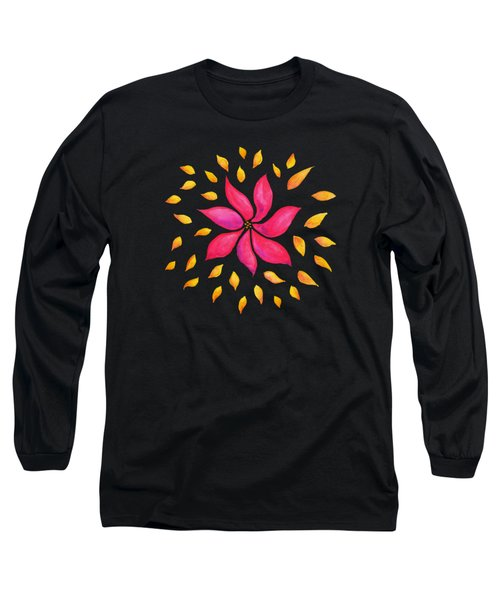 Abstract Whimsical Watercolor Pink Flower Long Sleeve T-Shirt