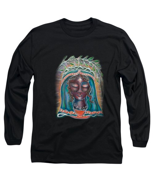 Long Sleeve T-Shirt featuring the painting Black Madonna by Deborha Kerr
