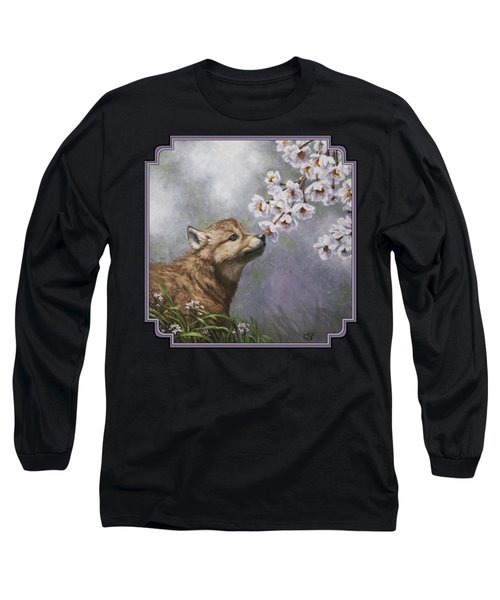 Wolf Pup - Baby Blossoms Long Sleeve T-Shirt by Crista Forest