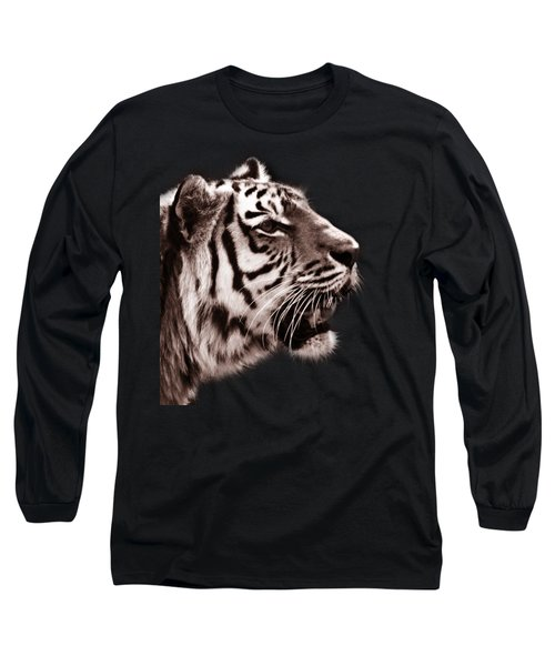 Siberian Tiger Profile Long Sleeve T-Shirt by Crystal Wightman