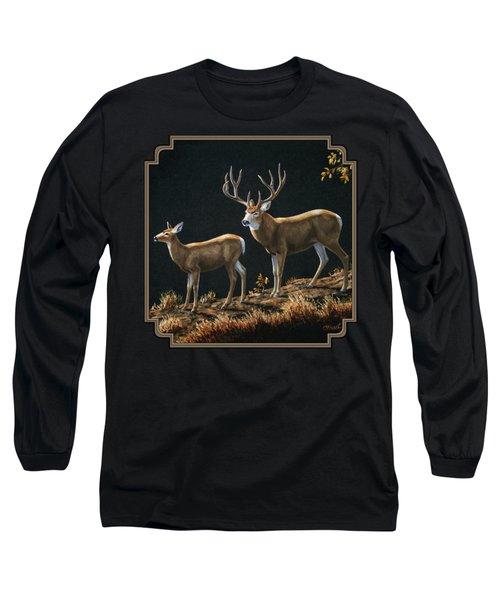 Mule Deer Ridge Long Sleeve T-Shirt by Crista Forest