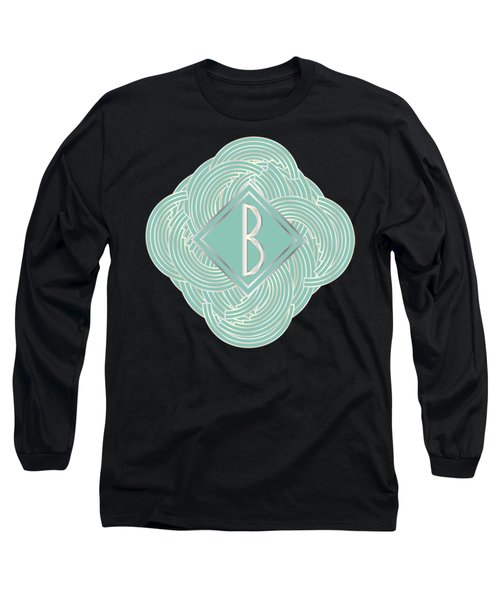 1920s Blue Deco Jazz Swing Monogram ...letter B Long Sleeve T-Shirt by Cecely Bloom