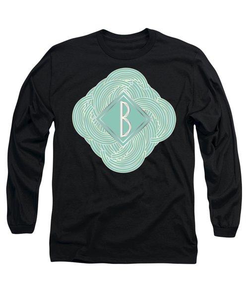 1920s Blue Deco Jazz Swing Monogram ...letter B Long Sleeve T-Shirt