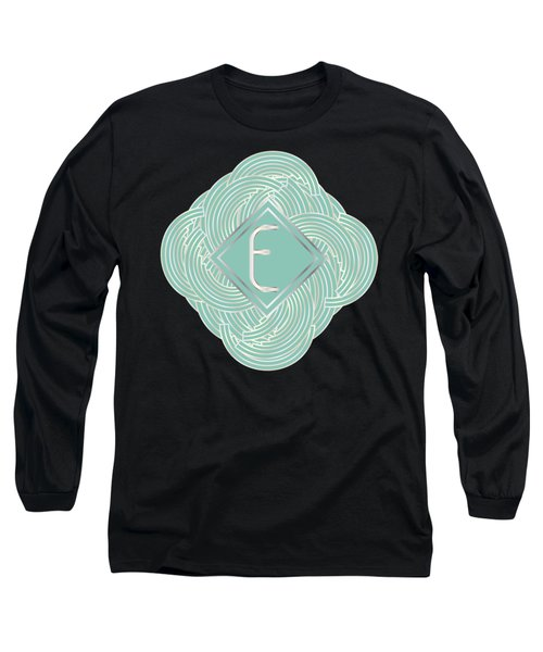 1920s Blue Deco Jazz Swing Monogram ...letter E Long Sleeve T-Shirt by Cecely Bloom
